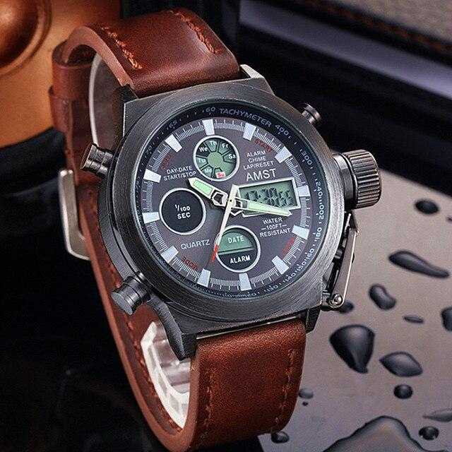 שעון גברים אופנה מקרית יוקרה מותג AMST Diver LED זכר ספורט צבאי רצועת עור עמיד למים שעון יד Relogio Masculino