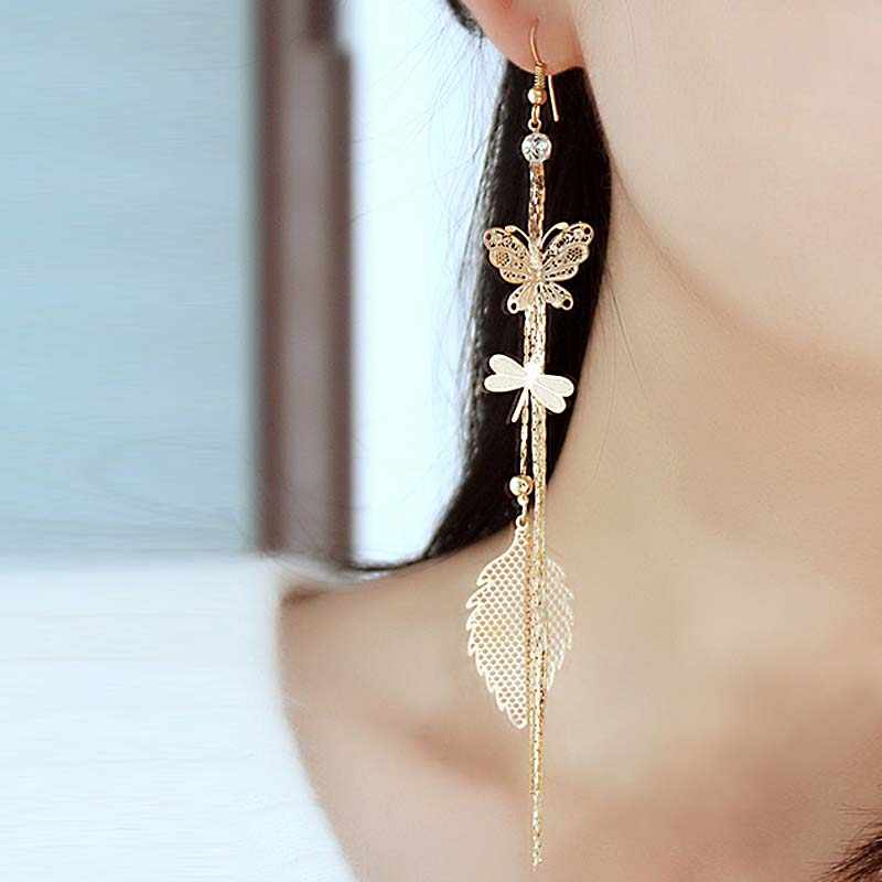 LNRRABC retro fashion long tassel dangle earrings hanging Dragonfly Butterfly drop earrings for women earings fashion jewelry