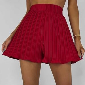 Shorts Women Summer Ruffles Elastic Casual Loose High Waist Shorts Femmale Sexy Slim Thin Elegant Solid Beachshorts Skirts