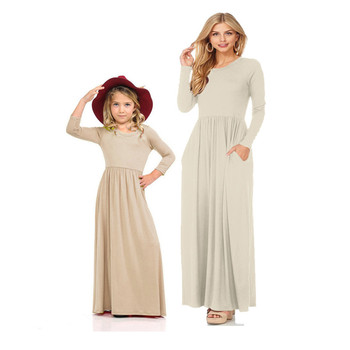 LILIGIRL Long Girls Dress 2019 Mother Daughter Dresses Solid Color Mom and Daughter Dress for Family Matching Clothes Outfits