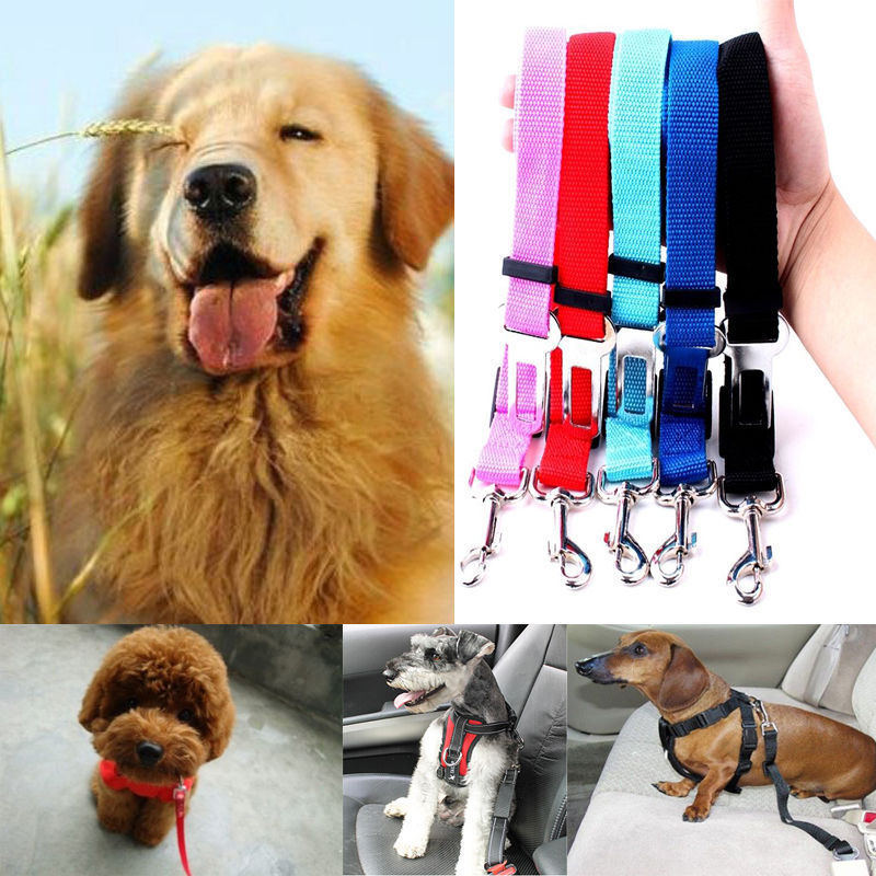 Adjustable Pet Dogs Vehicle Car Safe Seat Belt Harness Restraint Lead Leash Clip Random