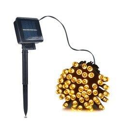 Светодиодная лента, 50/100/200, уличные лампы на солнечных батареях, гирлянда, гирлянда, декоративные лампы для сада и лужайки