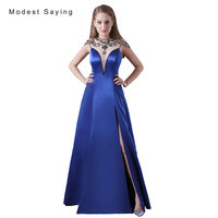 Sexy See Through Split Royal Blue A Line Beaded Evening Dresses 2017 Long Engagement Party Prom
