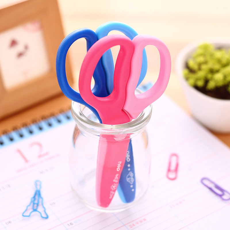 1X  Student Safe Plastic Scissors Paper Cutting Art Office School Supply With Cap Stationery DIY Tool