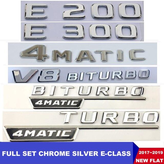 Flat Chrome W212 W213 สัญลักษณ์รถE200 E250 E300 E320 E350 ตัวอักษรBadge Auto 4MATICโลโก้Emblema De CarroสำหรับMercedes Benz AMG
