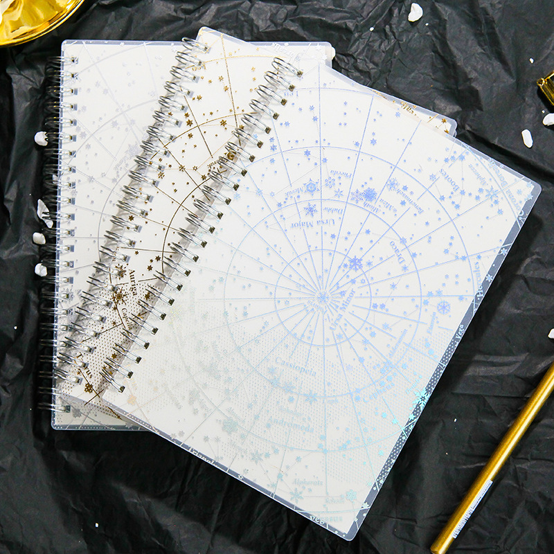 Galaxy Laser Transparent Notebook Organizer Paper Planner  Gold Silver Line Blank Point Coil Notebook Diary Bullet Journal A5