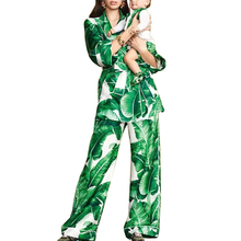 Runway 2018 autumn and winter new banana leaf print suit female suit collar pajamas coat jacket + straight pants two sets