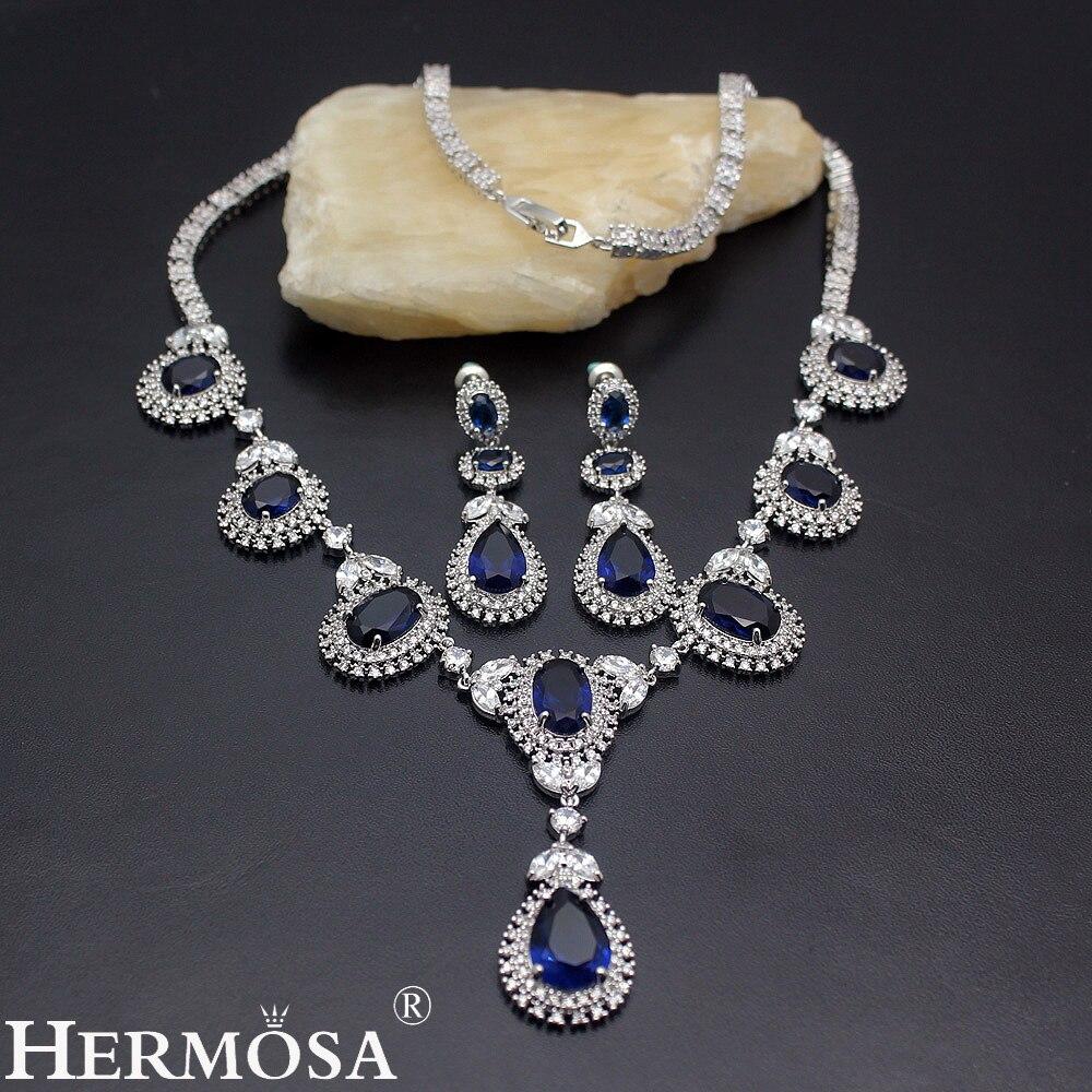 Merveilleux ensemble de bijoux pour femmes 925 collier ras du cou en argent Sterling et boucles d'oreilles de mariage ensemble de bijoux de mariage