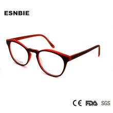 ESNBIE Acetate Round Fashionable Spectacle Frames Ladies Eye Glasses Optical Frame For Men Eyewear Unisex Myopia