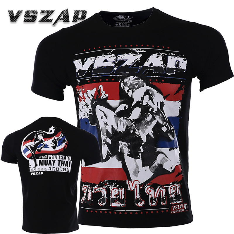 VSZAP Jerseys Men Gym Kickboxing Muay Thai Boxing Training Cotton Breathable