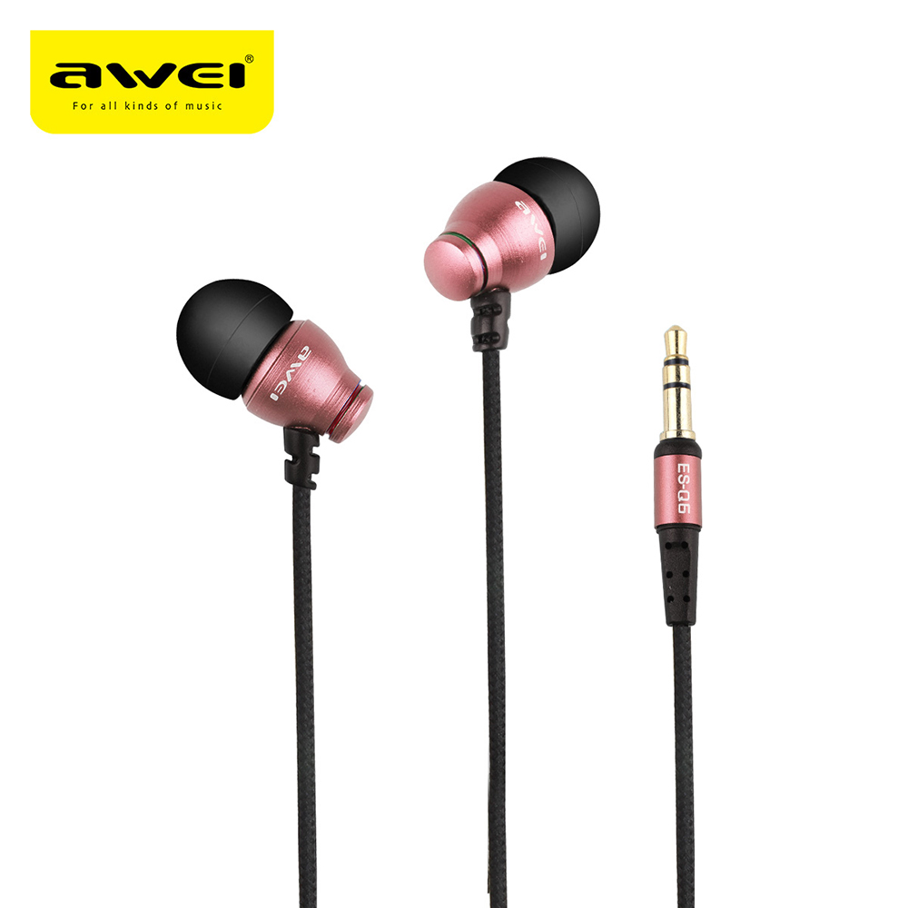 3Pc Original AWEI ES-Q6 Protable 3.5MM Plug Stereo Music Vibrate Sounds Deep Bass In-ear Earphones with Microphone