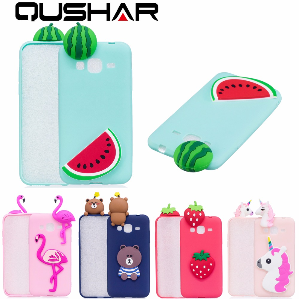 QuShar 3D Flamingo Bear Rubber Case for Samsung Galaxy J3 2016 Soft Cute Phone Case Shoc ...