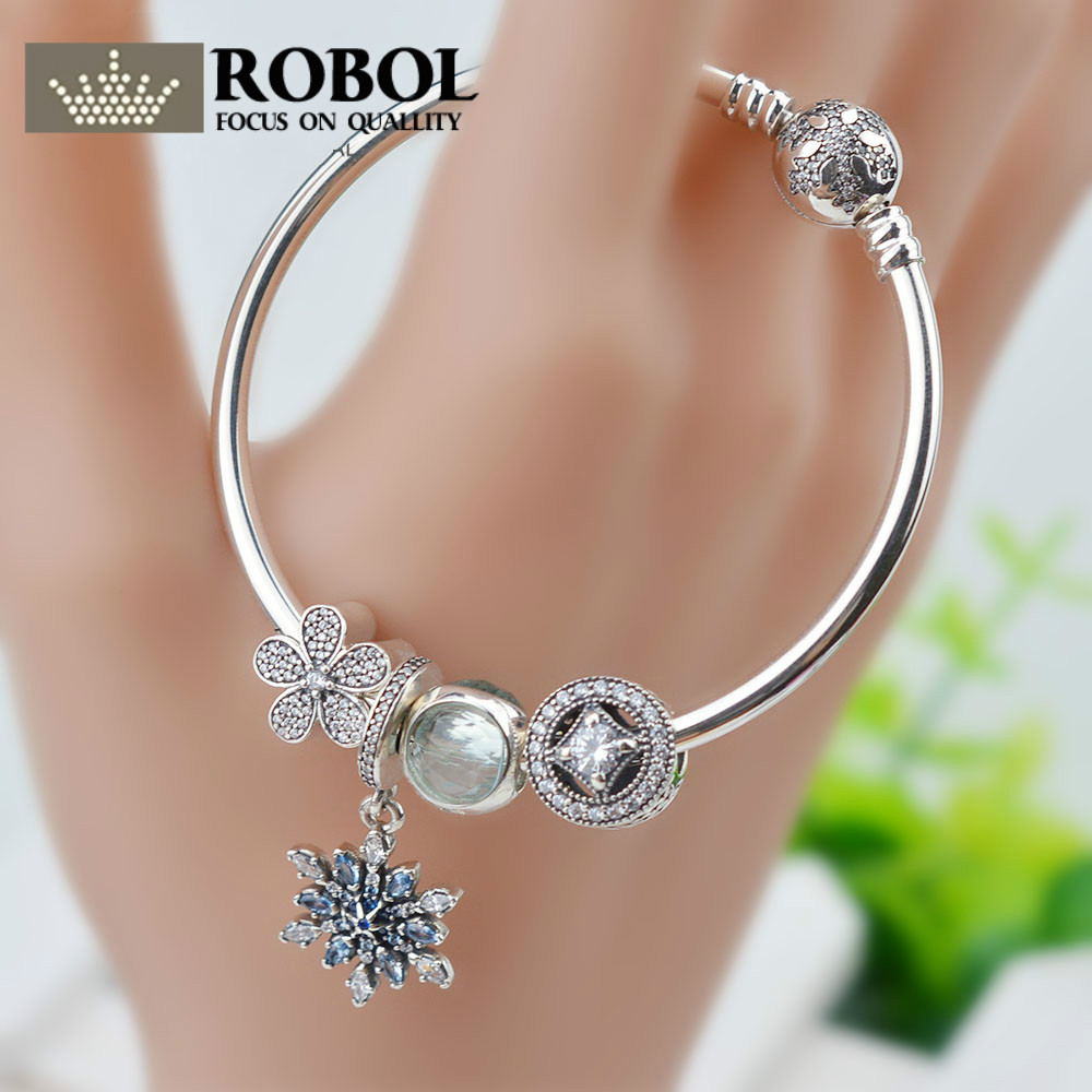 ROBOL Hot Sale 100% 925 Sterling Silver Beauty and the Beast Charms Beads Bangles & Bracelet Luxury Jewelry Original GiftROBOL Hot Sale 100% 925 Sterling Silver Beauty and the Beast Charms Beads Bangles & Bracelet Luxury Jewelry Original Gift