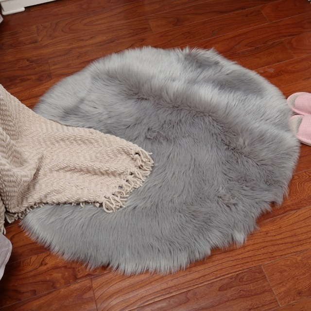 Artificial Carpet Soft Sheepskin Rug Skins Seat Pad Round Area Rugs Floor Mat 2 Colors