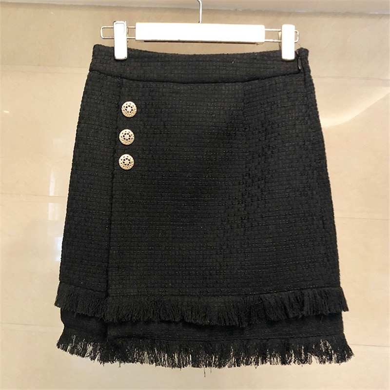 Poitrine Laine Unique Tweed De Diamants Veste T148 2 Limiguyue Arc Gland Haute Crayon D'hiver Pièce Femmes Ensemble Jupe Blanc Qualité noir Set yvN80nwmO