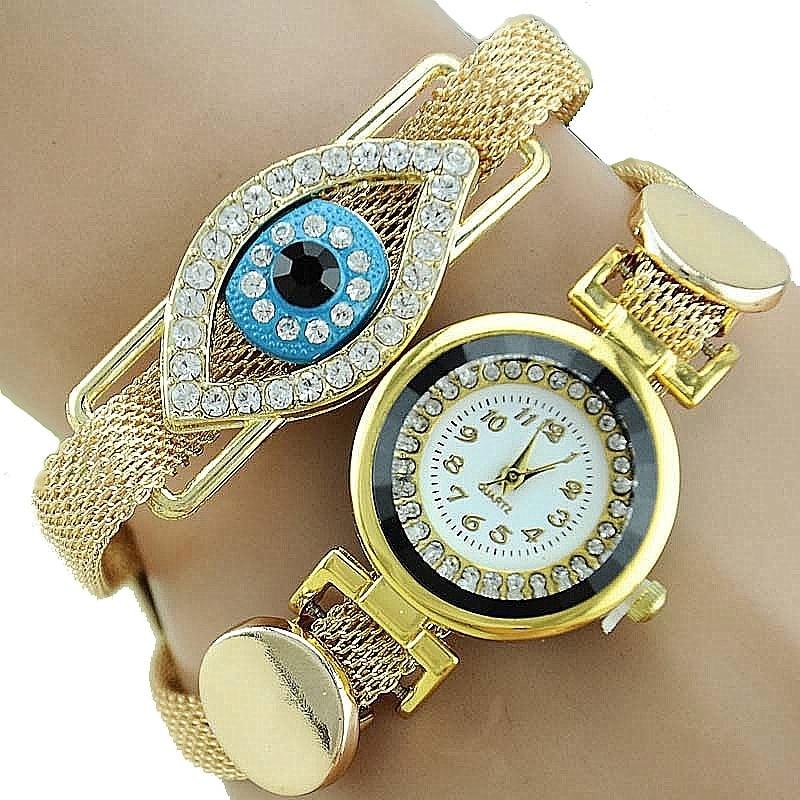 Gnova Platinum Blue Eye Women Metal Watch Golden Mesh Indian Bracelet Wristwatch Quartz Timepiece Reloj para femme B013 kcchstar the eye of god high quality 316 titanium steel necklaces golden blue