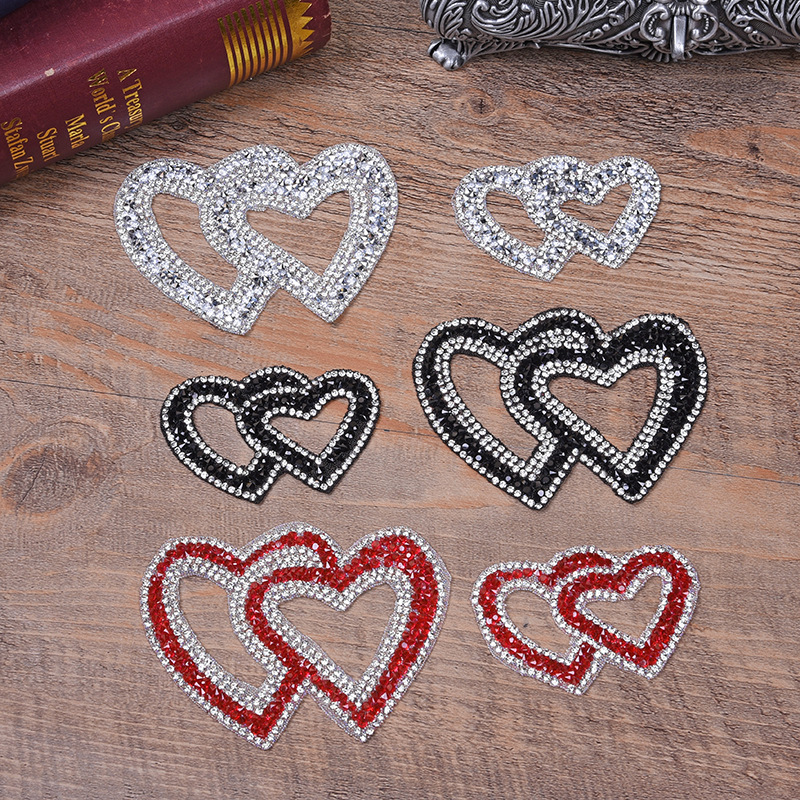 Double Heart Exquisite Rhinestone Stickers Heat Transfers For Clothes DIY Embroidery Applique For T-shirt Clothing Decor (8)