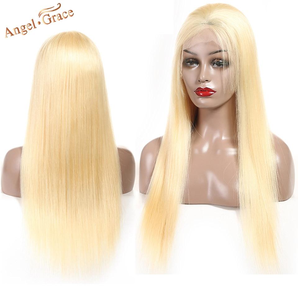 Lace Wigs Angel Grace Hair #613 Blonde Wigs Silky Straight Hair Bundles Brazilian Remy Human Hair Lace Front Wigs Fast Delivery 2-4 Days Human Hair Lace Wigs