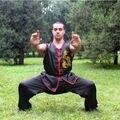 Black sleeveless lee vintage chinese wing chun clothing embroidery dragon martial arts uniform taichi wushu kungfu clothing