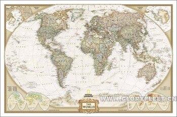 Leinwand Weltkarte | Große Vintage Weltkarte Bar Cafe Home Dekoration Detaillierte Antikes Plakat Wandkarte Retro Baumwolltuch Leinwand Malerei 112x75 CM