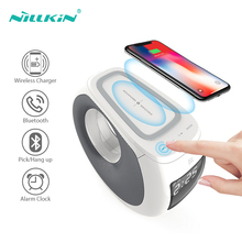 Wireless Charger NILLKIN Stereo Subwoofer Clock Alarm Bluetooth Speaker Qi Wireless Phone Chargers For iPhone Xiaomi Samsung home bluetooth speaker qi wireless charger pad music surround speaker nillkin cozy mc1 for iphone x 8 for samsung s9 for xiaomi