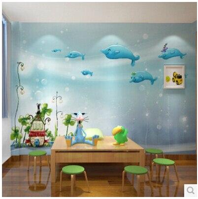 Murale chambre d\'enfants bleu océan garçons et filles chambre 3D ...