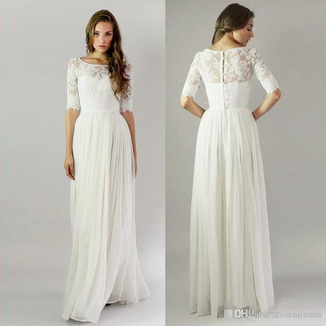 Boho Long Modest Wedding Dresses With Half Sleeves Lace