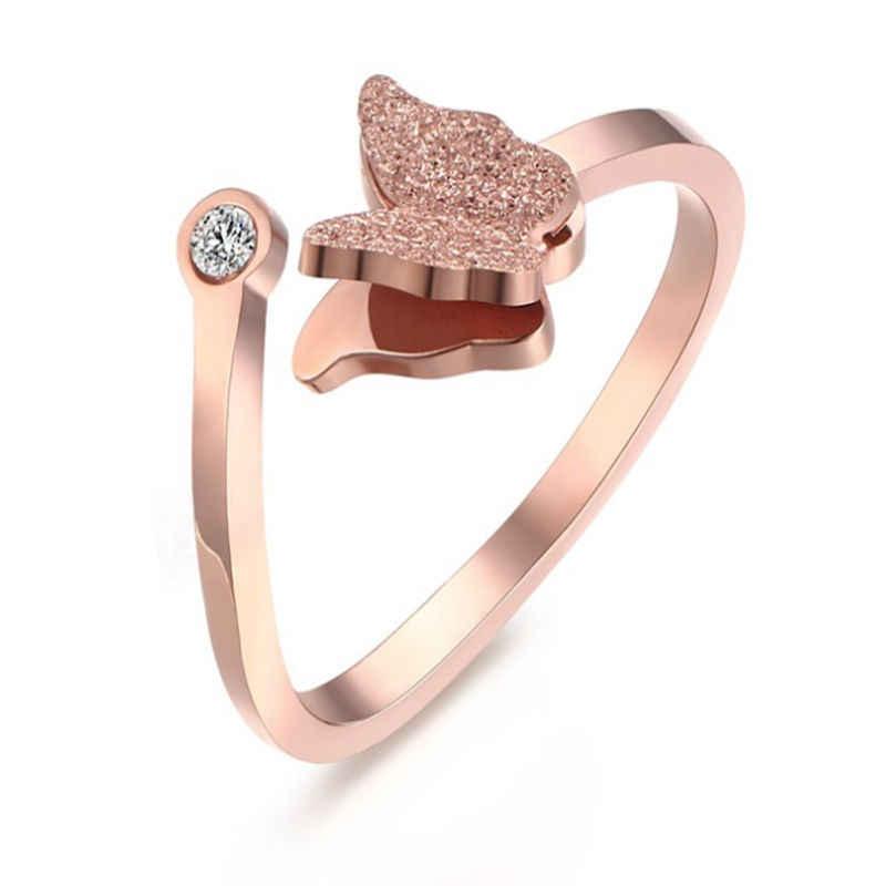 Ensemble de bijoux chauds titane acier sablage papillon bracelet collier anneau oreille clou or rose bijoux fille