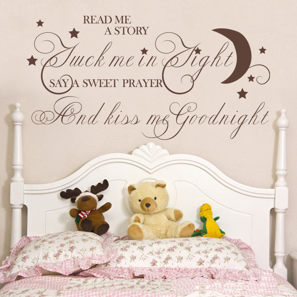 Read Me A Story Tuck Me In tight Bedroom Vinyl Wall Decal Kid Room Wall Sticker Nursery Decal 40.6cm x81.3cm