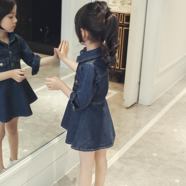 Autumn dresses for School Girls Brand Europe Princess denim Dress Costumes for Kids clothes children Toddler jean coat dress W55