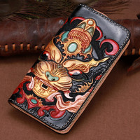 Handmade Wallets Carving Lion Hasp Bag Purses Women Men Long Clutch Vegetable Tanned Leather Wallet Fathers Day Gift