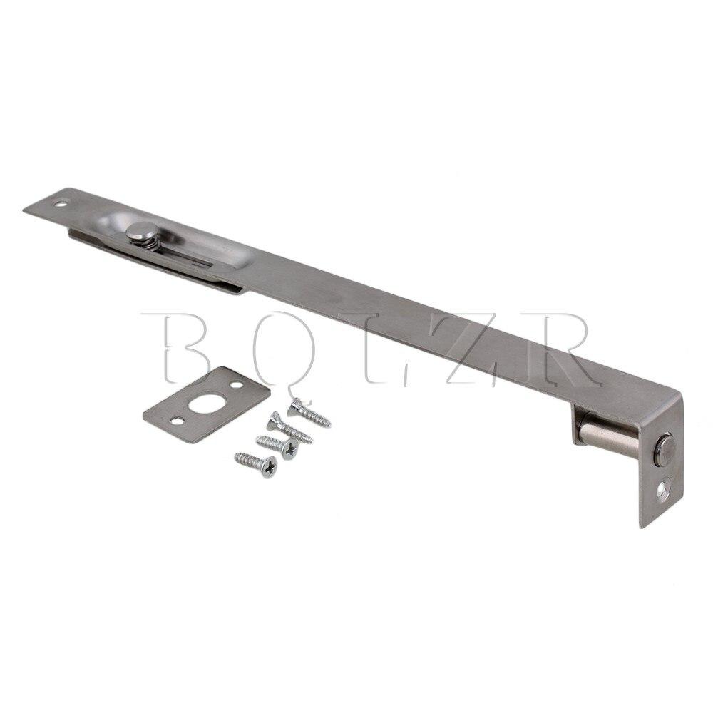 Silver Stainless Steel Bedroom BQLZR Security Door Bolt Slide Lock Latch 25cm 4 size brass door slide catch lock bolt latch barrel home gate safety hardware