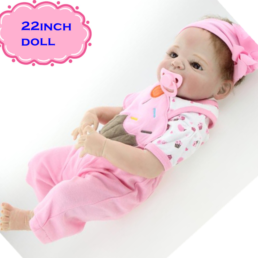 22inch New Popular Full Silicone Reborn Baby Dolls Very Cute Girls With Rooted Mohair Bebe Muneca Brinquedo For Child Mannequin22inch New Popular Full Silicone Reborn Baby Dolls Very Cute Girls With Rooted Mohair Bebe Muneca Brinquedo For Child Mannequin