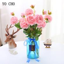 Yo cho sztuczne kwiaty jedwabny piwonie biały 3 głowice sztuczne róże na ślub dekoracja domu sztuczny kwiat sztuczna piwonia tanie tanio Jedwabiu Ślub Bukiet kwiatów artificial peonies Display Flower Decorative Flowers Wreaths Rose White Pink Red Purple Blue