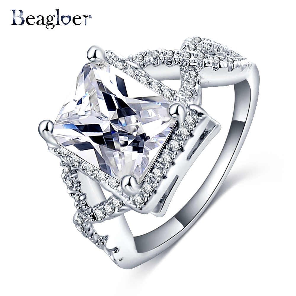Beagloer Fashion New Jewelry Unisex Ring Rose Gold Color Big Cubic Zirconia Noble Charms Wedding Rings For Women CRI0305-B
