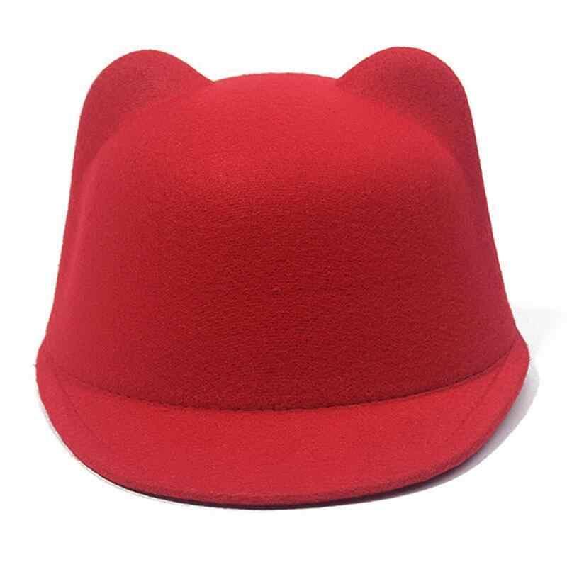 Простая шерстяная фетровая Корейская конная шапка с кошачьими ушками, шапка для родителей и детей, шапка с плоскими полями, шапка-Всадник для мужчин, женщин, детей, мальчиков и девочек