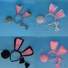 Women Girl Long Rabbit Ears Headband Bunny Ear Hairband Bow Tie Tail Set Cosplaty Party Favor