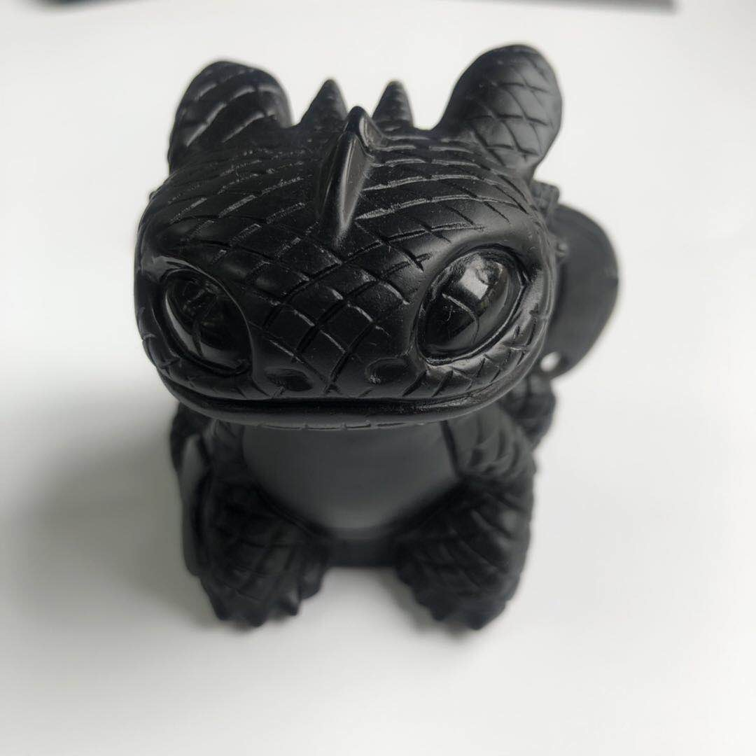 4564 Incroyable Obsidienne Noire Naturelle Pierre Cristal Sculpture Reiki Dragon Maître Sans Dents Dragon Nuit Démon Pour La Décoration Fmx In