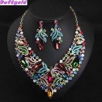 Luxus Bunte Kristallhalsband Schlüsselbein Halskette und Ohrringe Blume Schmuck Sets Abendkleid Frauen Zubehör Duftgold