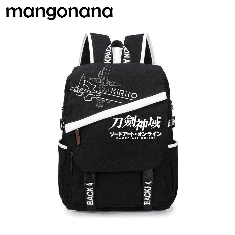 d09ae271da Anime Sword Art Online   Gintama   Fairy Tail Canvas Backpack Canvas Travel  School Bag Shoulder Bag