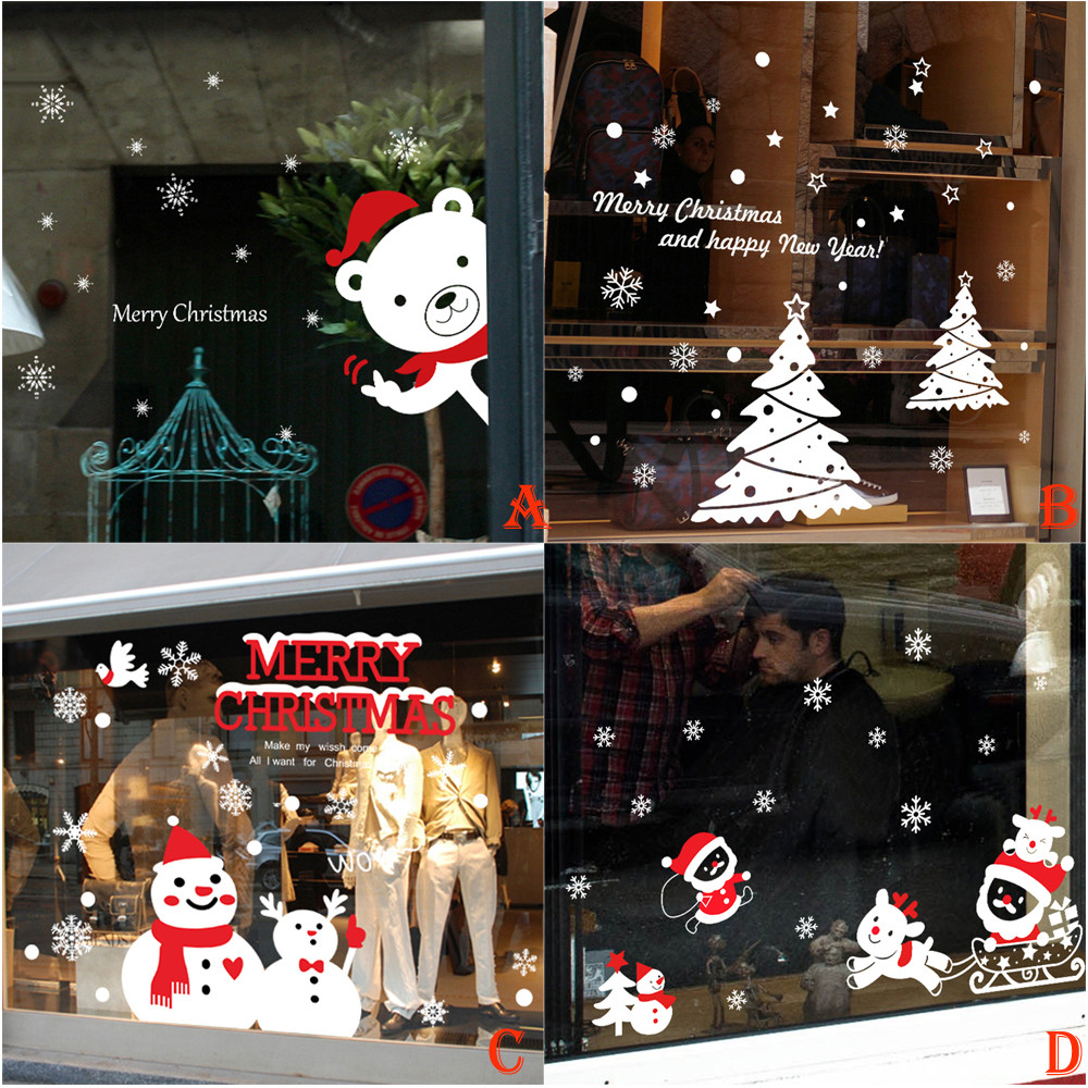 Christmas window decorations - Christmas Snowman Removable Home Vinyl Window Wall Stickers Decal Decor China