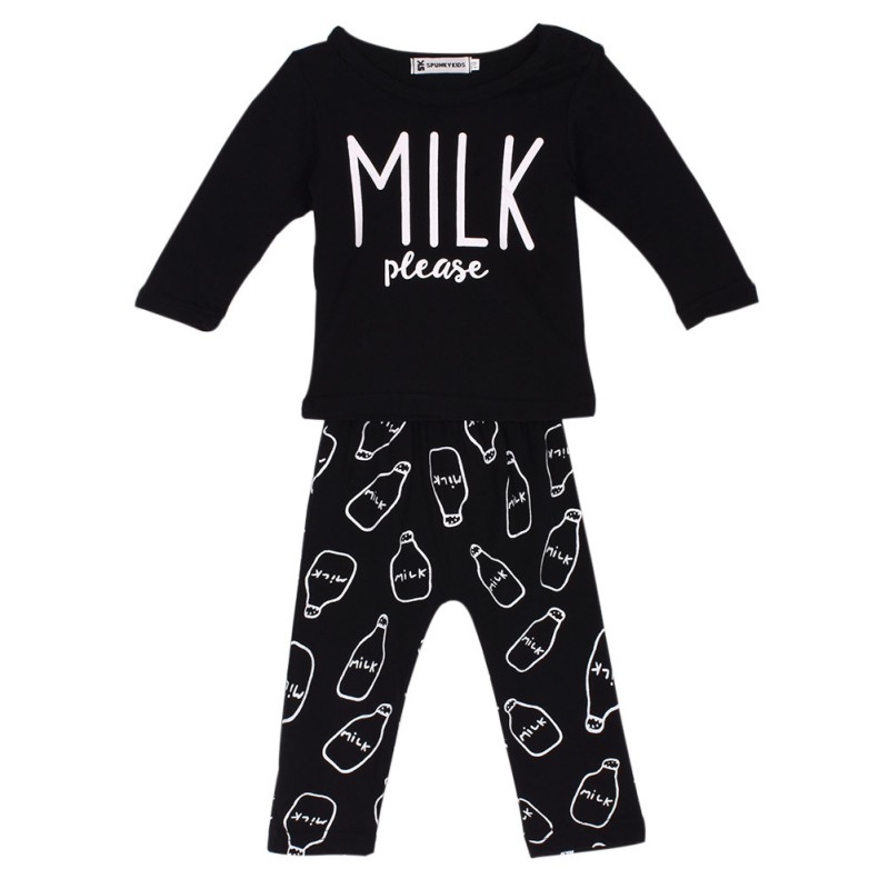 Newest Baby Girl Clothes Black Cotton Long Sleeved Letter Milk T shirt Pantsborn Baby Boy Clothing