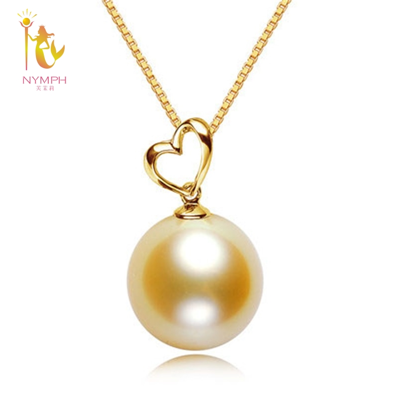 NYMPH genuine high quality 10-11 mm round golden south sea pearl necklace&pendant with real 18 k gold,2018 new style DZ533 цена 2017