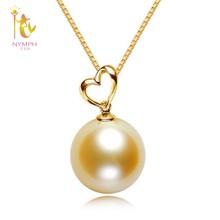b7a687fec79e Ninfa genuino de alta calidad 10-11mm oro redondo del Mar del Sur collar de  perlas y colgante con real de 18 K oro 2018 nuevo es.
