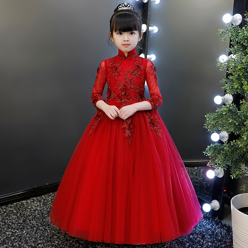 2018 New Kids Infant Girl Elegant Dress Children Bridesmaid Toddler Fashion Dress Birthday Wedding Formal Party Dress Wine red muqgew new fashion 2018 children party