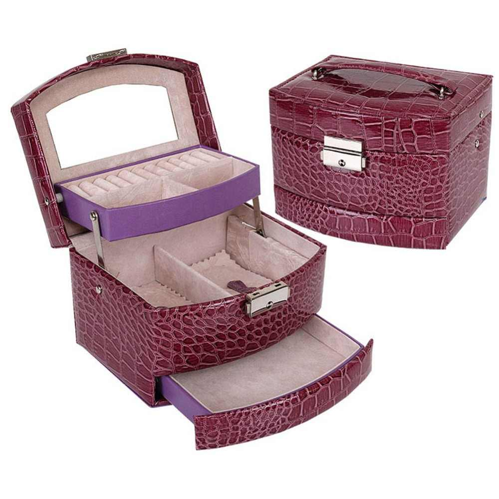 7ce090707760 3 Layers Jewelry Box With Drawers Necklace Jewelry Case With Lock And Key  Makeup Mirror PU Leather TT@88