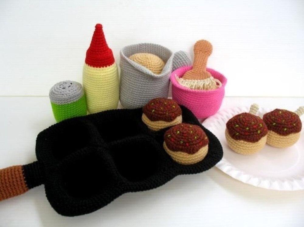 Crochet giocattoli amigurumi sonaglio takoyaki polpo numero di modello w15787Crochet giocattoli amigurumi sonaglio takoyaki polpo numero di modello w15787