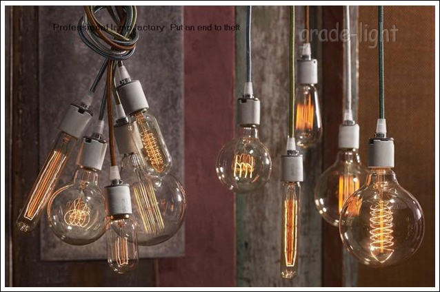 1x Braided Wire Variety Of Colors Edison Bulb Pendant