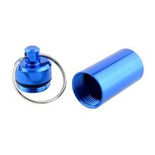 Новый высокое качество портативный водонепроницаемый синий алюминиевый брелок планшет ящик для хранения чехол контейнеродержатель