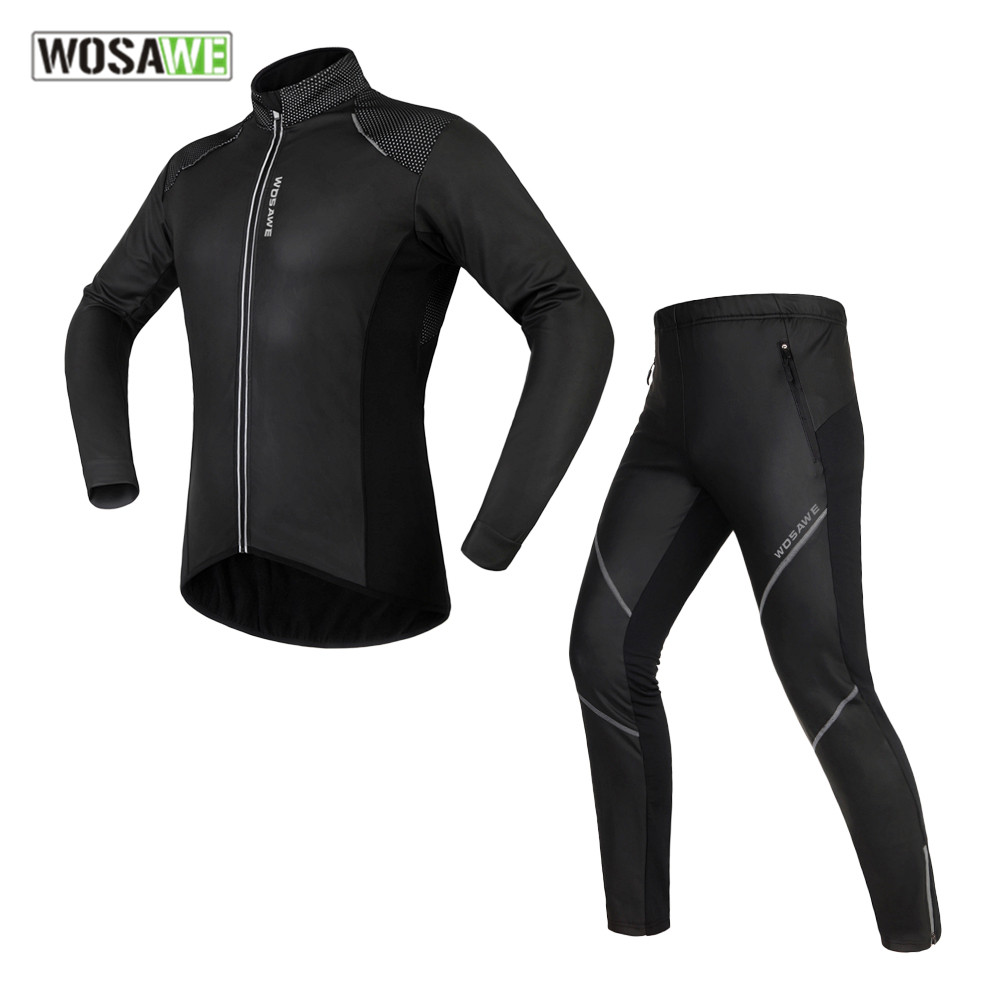 цены на WOSAWE Winter male motocross Jackets Sets Thermal Fleece MTB Bike clothes Windproof Warm Road men motorcycle clothing в интернет-магазинах